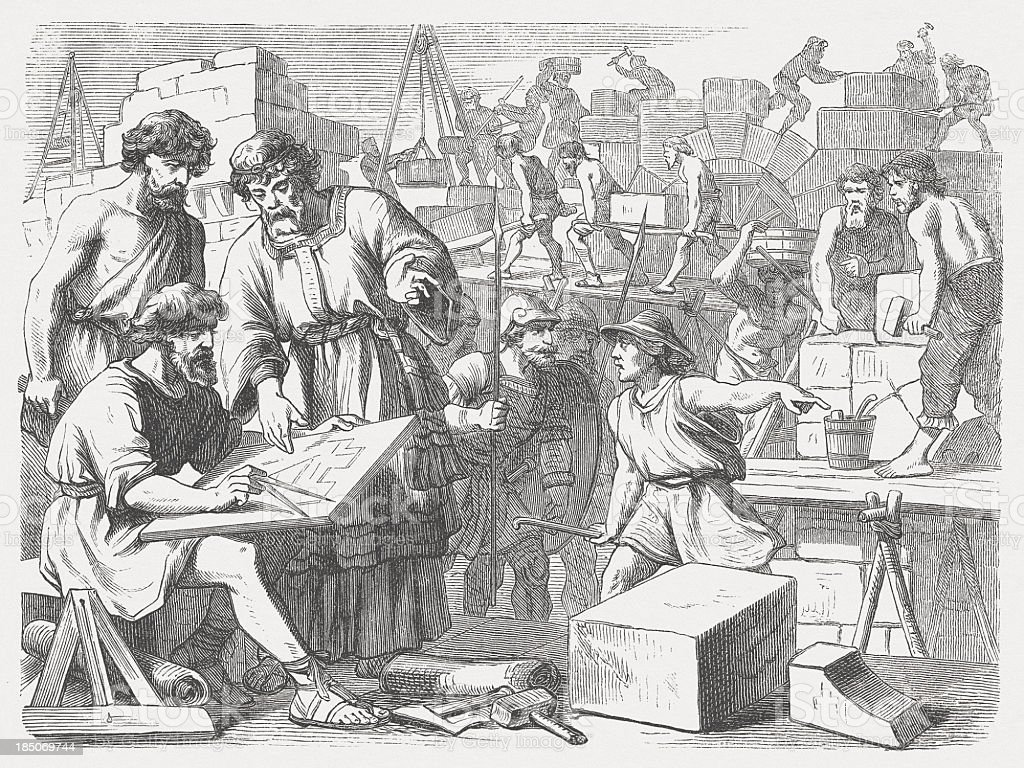 Rebuilding of Jerusalem (Nehemiah 4) royalty-free stock vector art