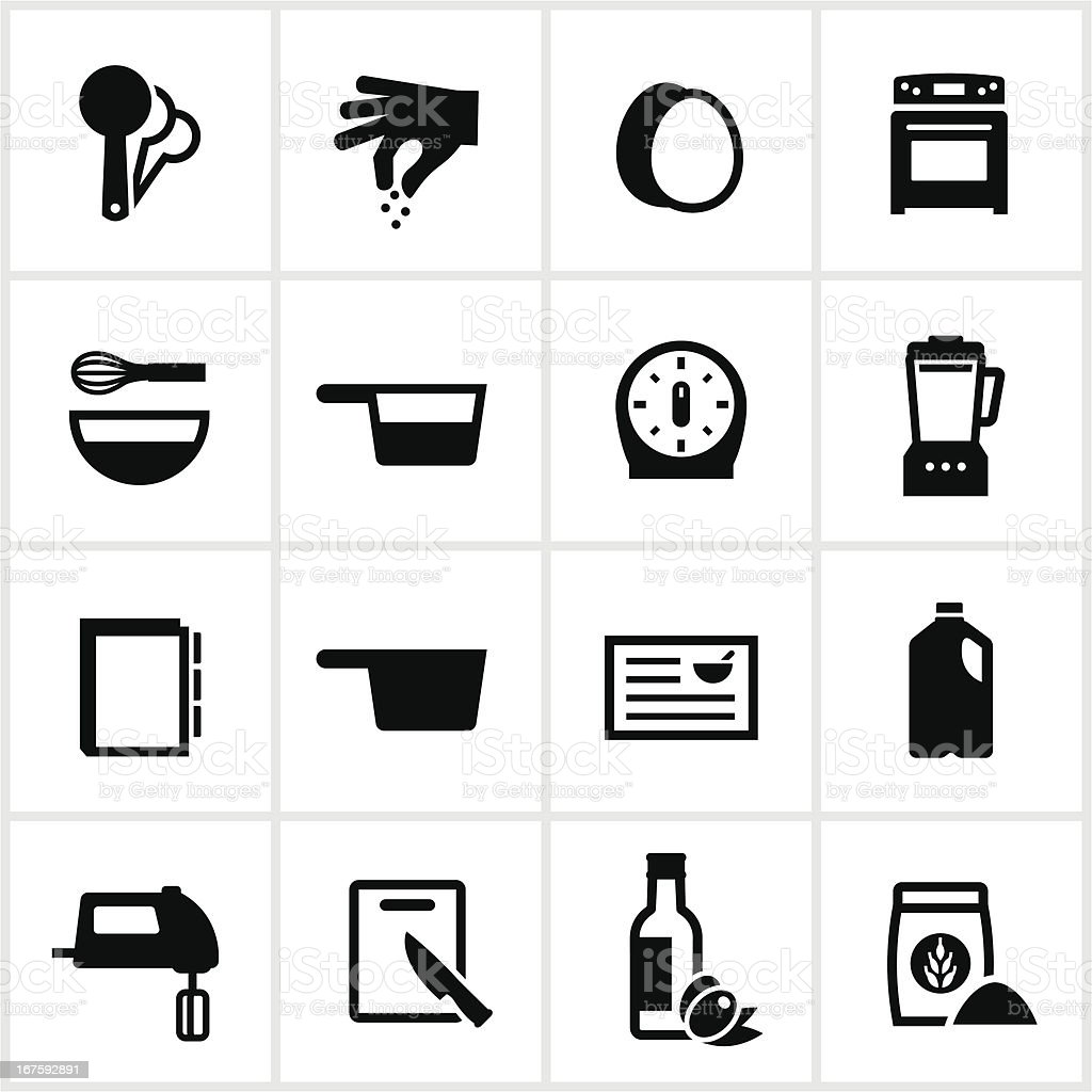 Recipe and Ingredients Icons vector art illustration