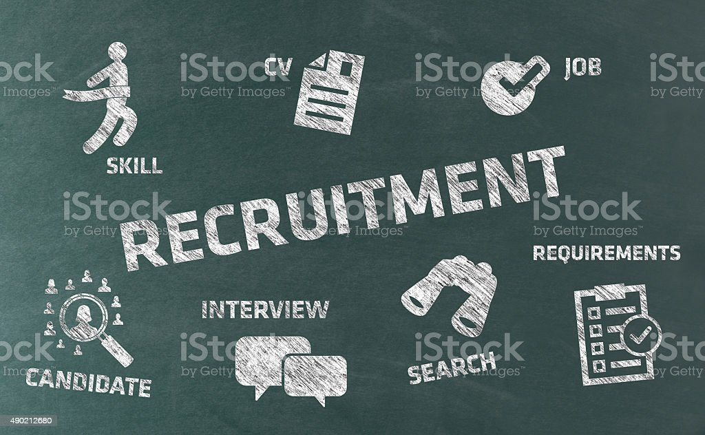 Recruitment Concept with Icons on Blackboard vector art illustration