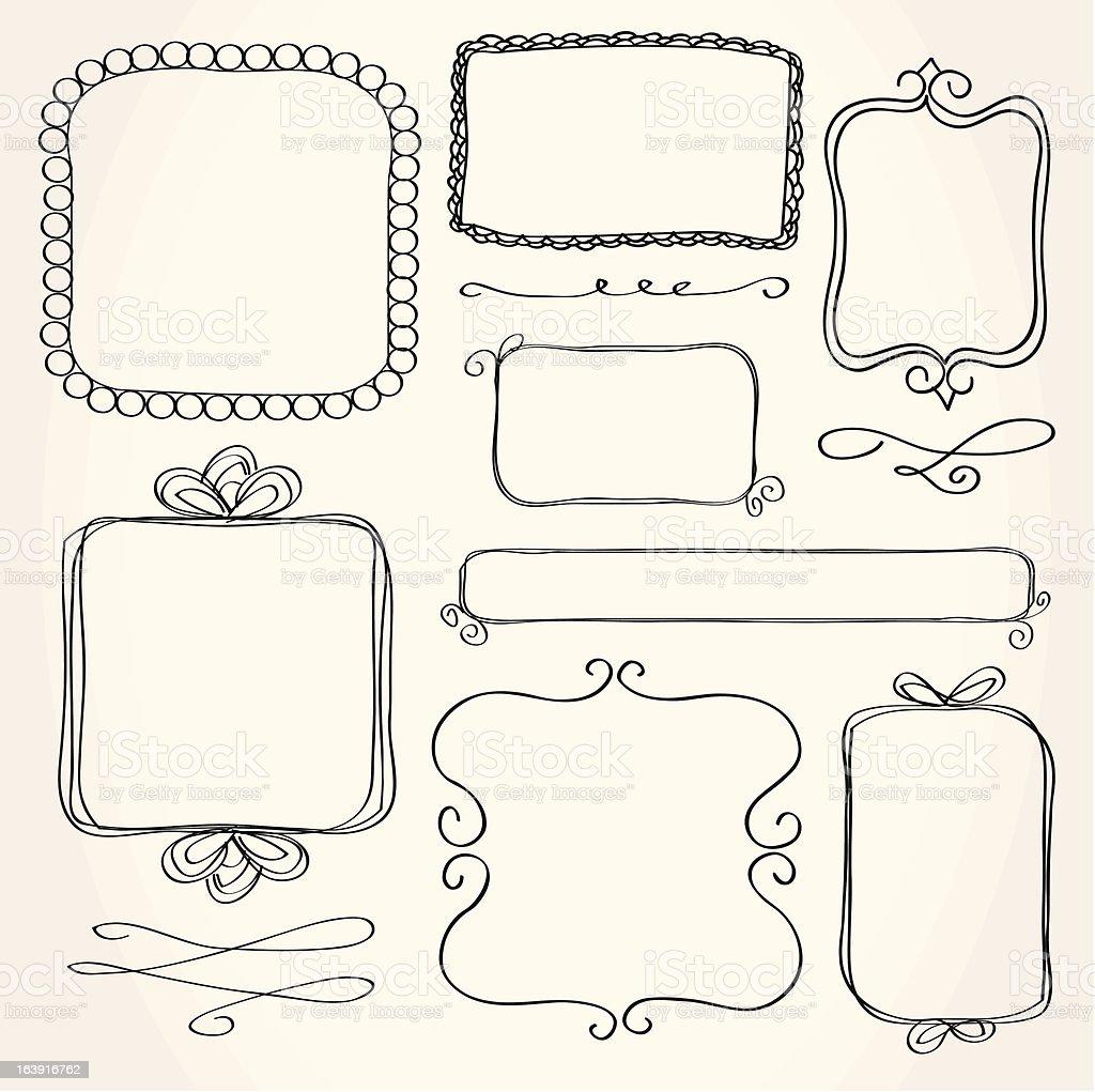 Rectangle Doodle Frames vector art illustration