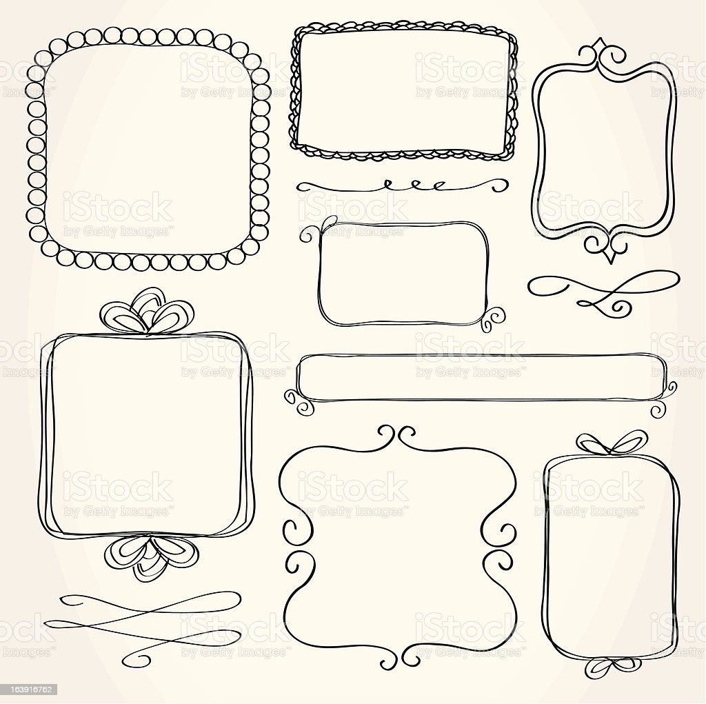 Rectangle Doodle Frames vector art illustration