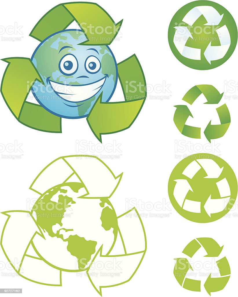 Recycle Symbol and Earth vector art illustration