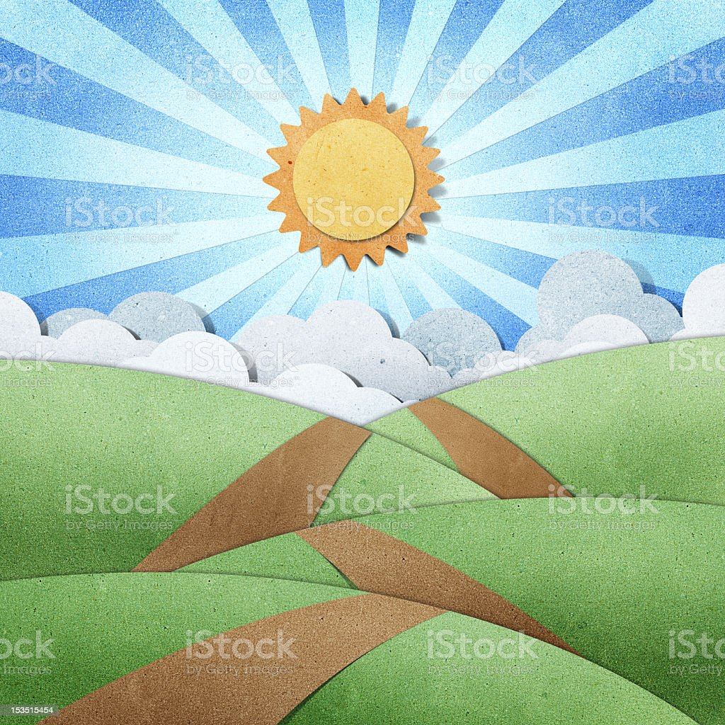 Recycled paper craft showing road view and bright sun royalty-free stock vector art