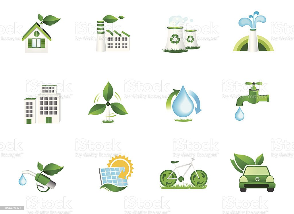 Recycling and Green Energy Icons vector art illustration