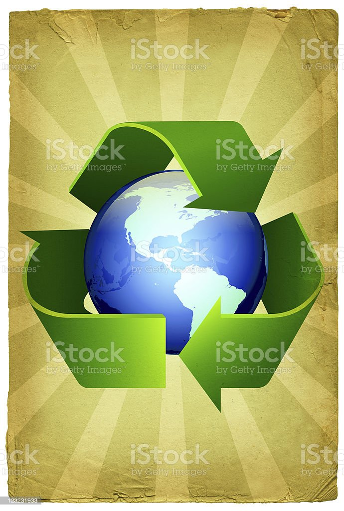 recycling design on old paper Background royalty-free stock vector art