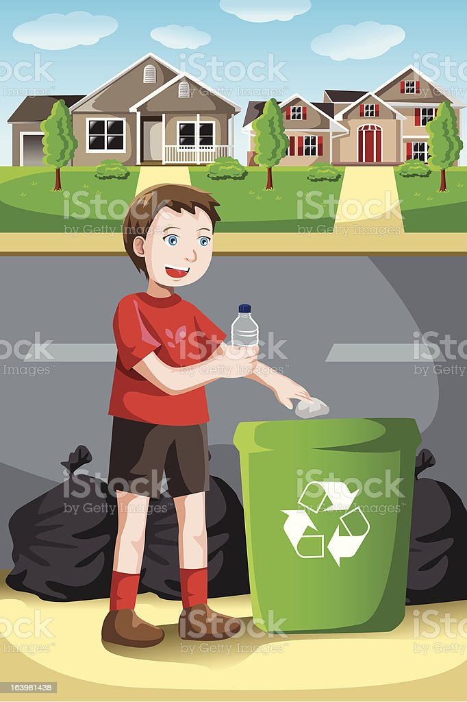 Recycling kid royalty-free stock vector art