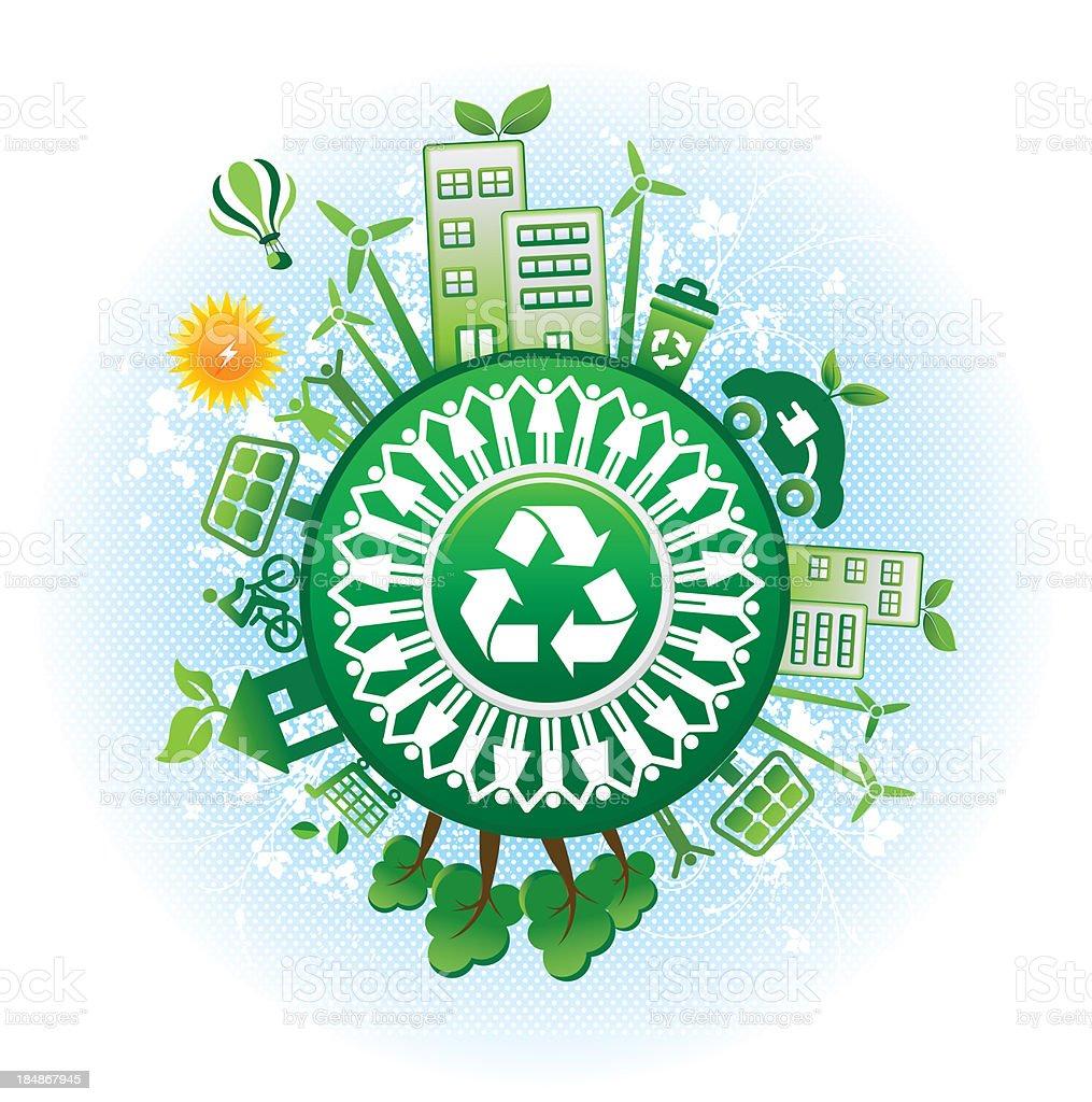 recycling symbol and alternative green energy vector art illustration