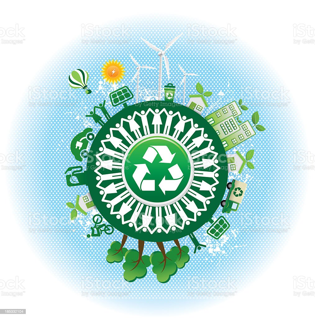 recycling symbol and environmental conservation vector art illustration