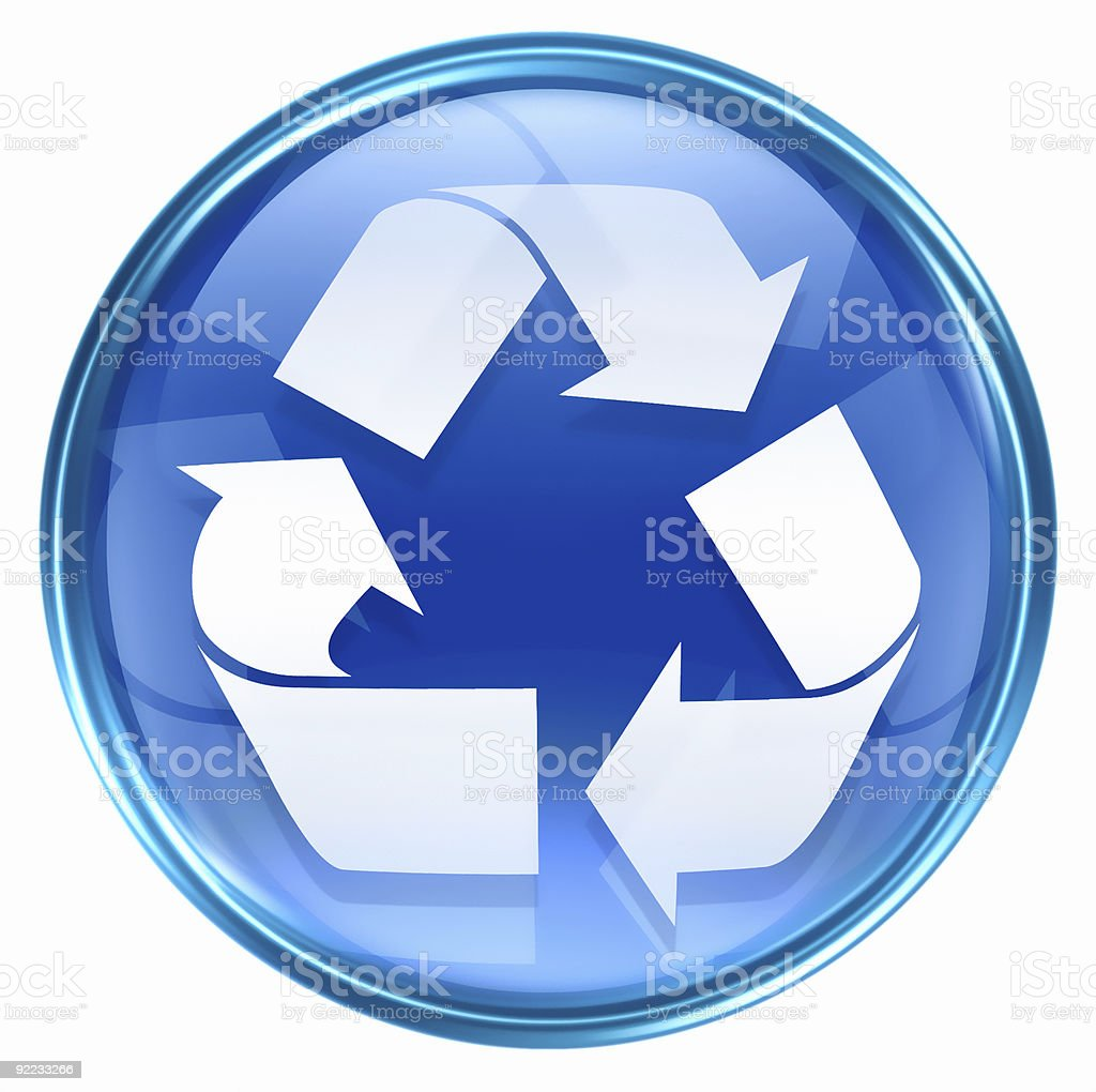 Recycling symbol icon blue, isolated on white background. royalty-free stock vector art