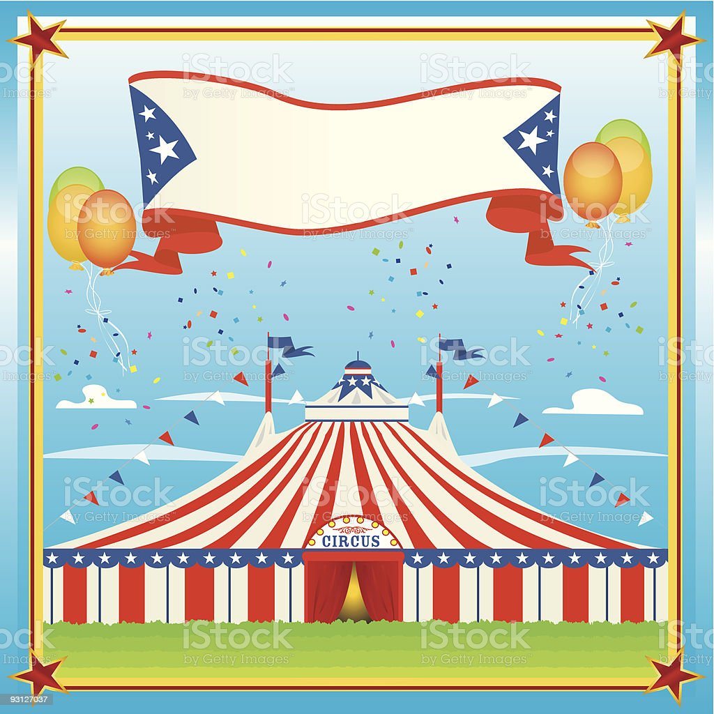 red and blue circus big top royalty-free stock vector art