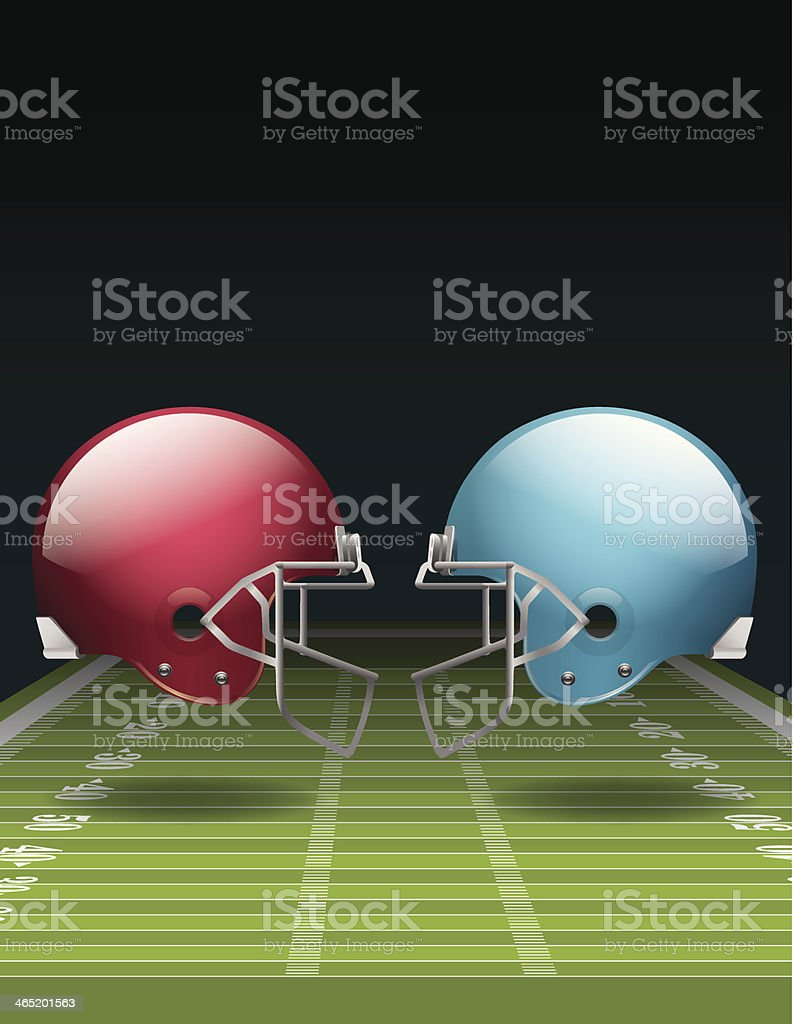 Red and blue helmets facing each other at a football field vector art illustration