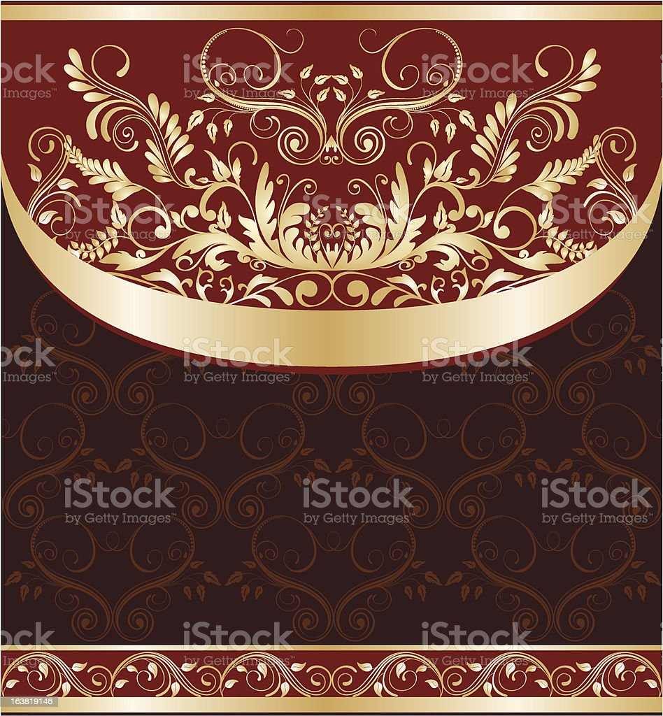 red and gold floral background royalty-free stock vector art