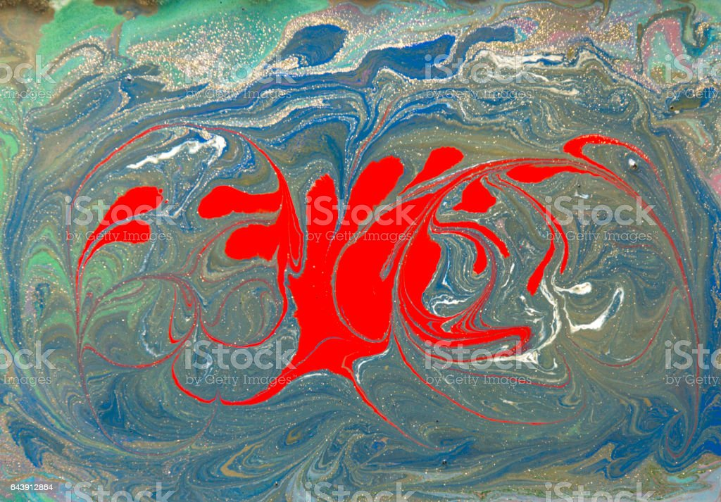 Red and gold liquid texture. Hand drawn marbling background. Ink marble abstract pattern stock photo