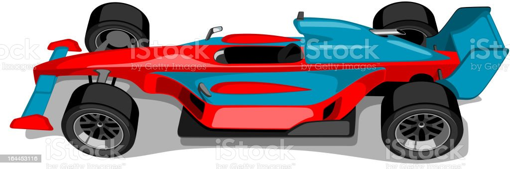 Red and Skyblue Formula One Car. Overhead View. vector art illustration