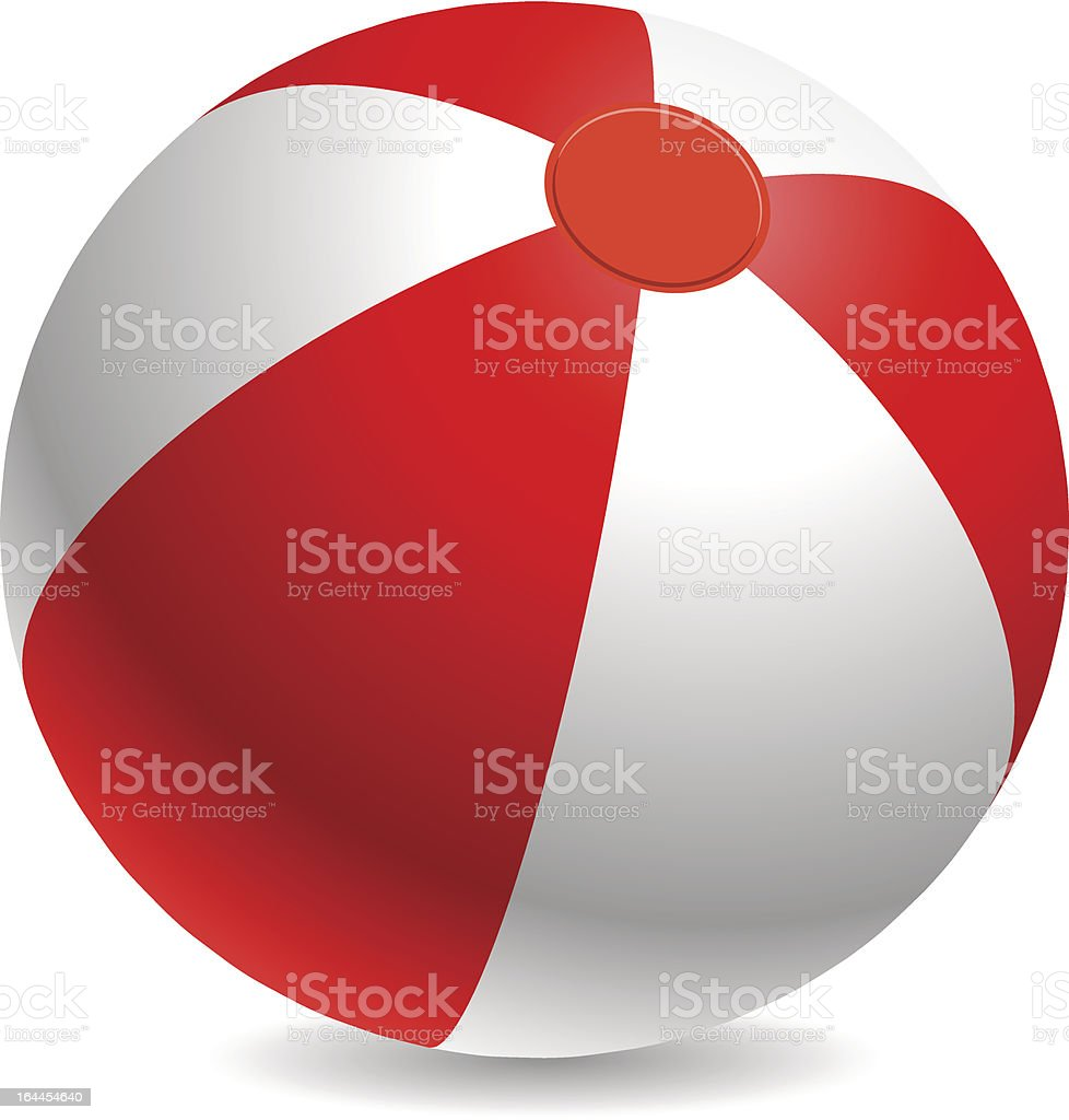Red and white beach ball vector art illustration