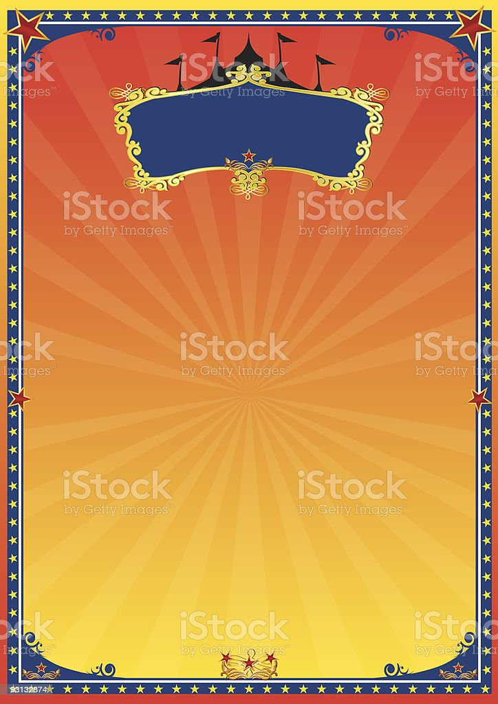 red and yellow circus poster royalty-free stock vector art