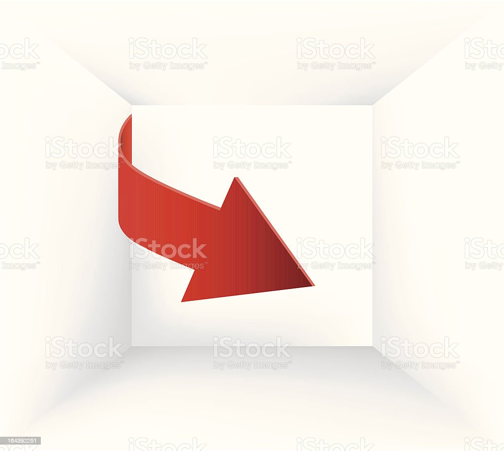 Red arrow pointing inside royalty-free stock vector art