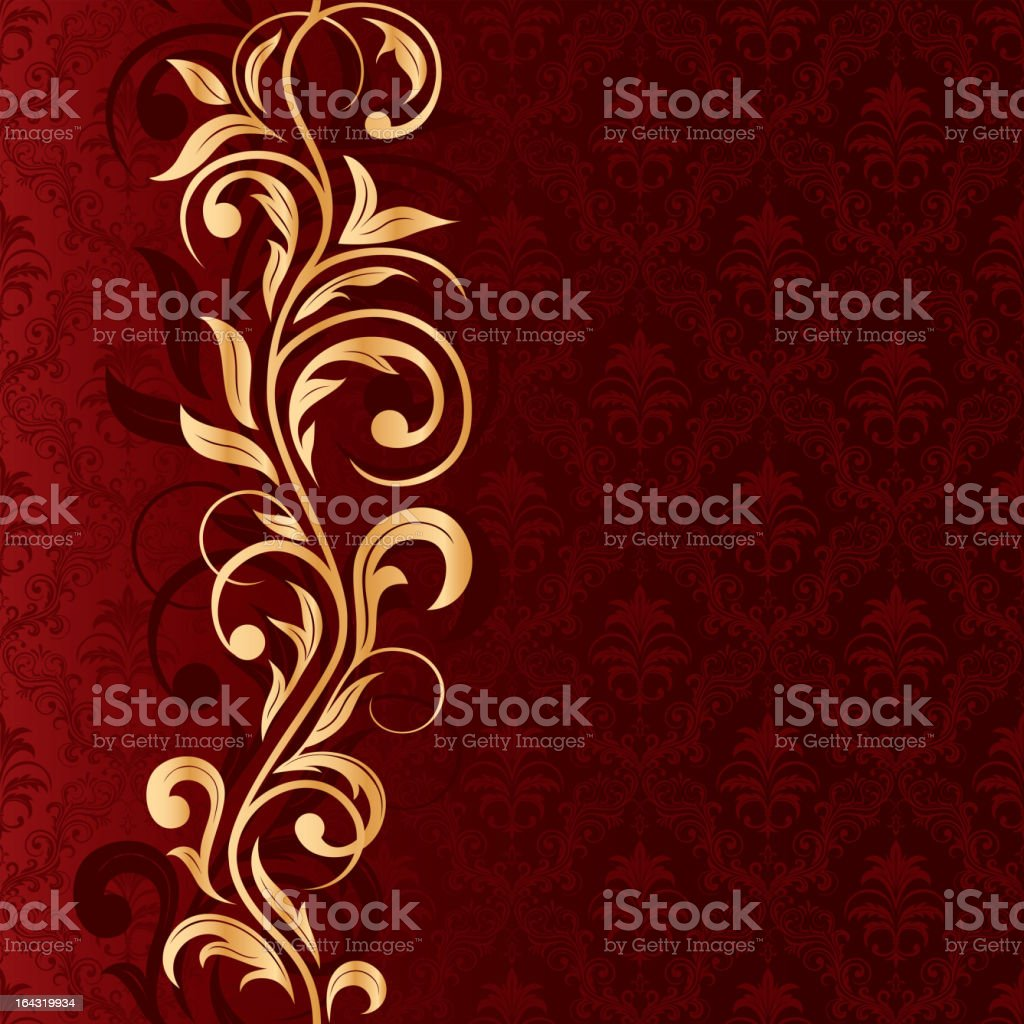 Red background with gold pattern royalty-free stock vector art