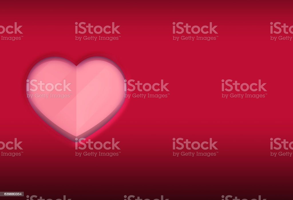 Red Background with Pink 3d gradients Heart Shape Illustration stock photo