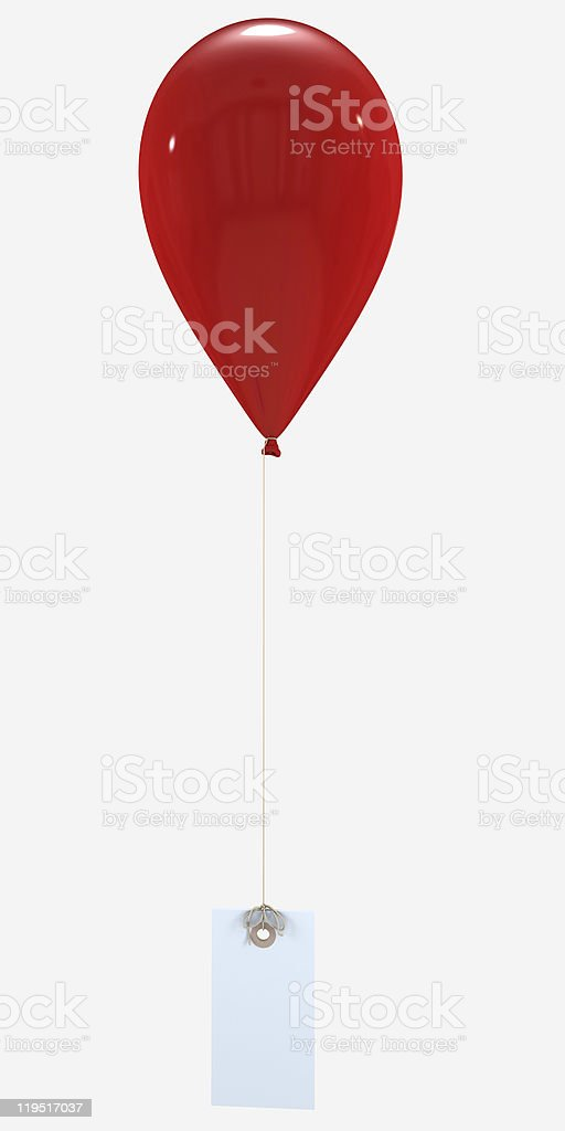 Red balloon and label vector art illustration