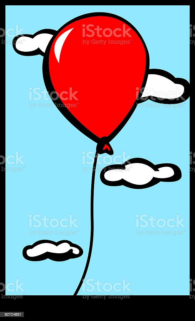 red balloon flying through the sky royalty-free stock vector art