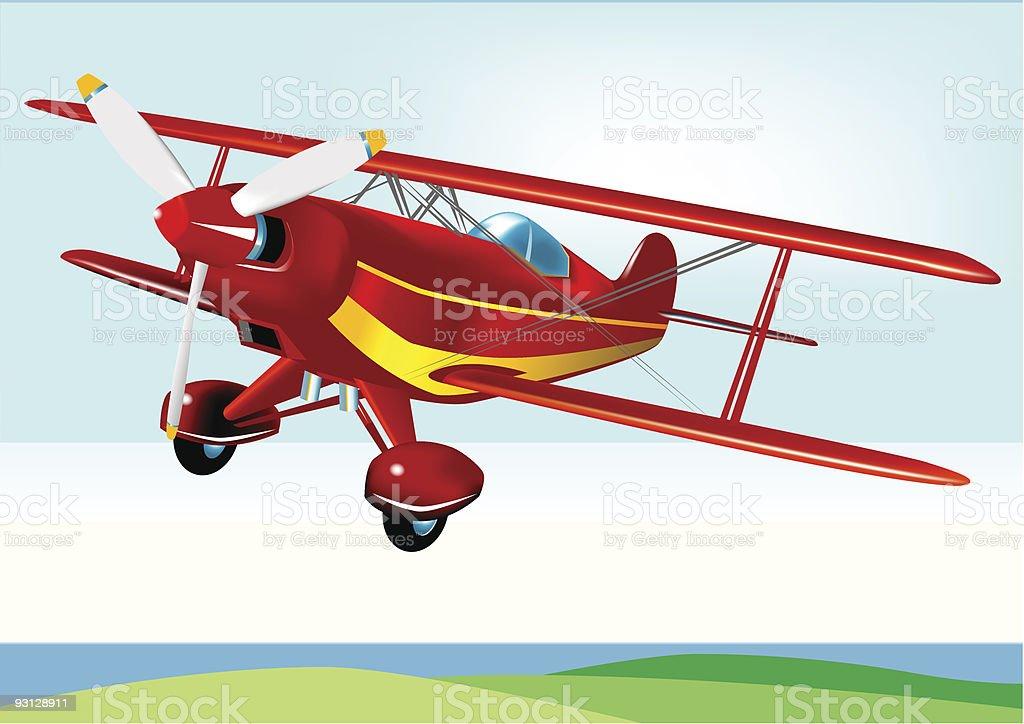Red Baron Acrobatic Aeroplane royalty-free stock vector art