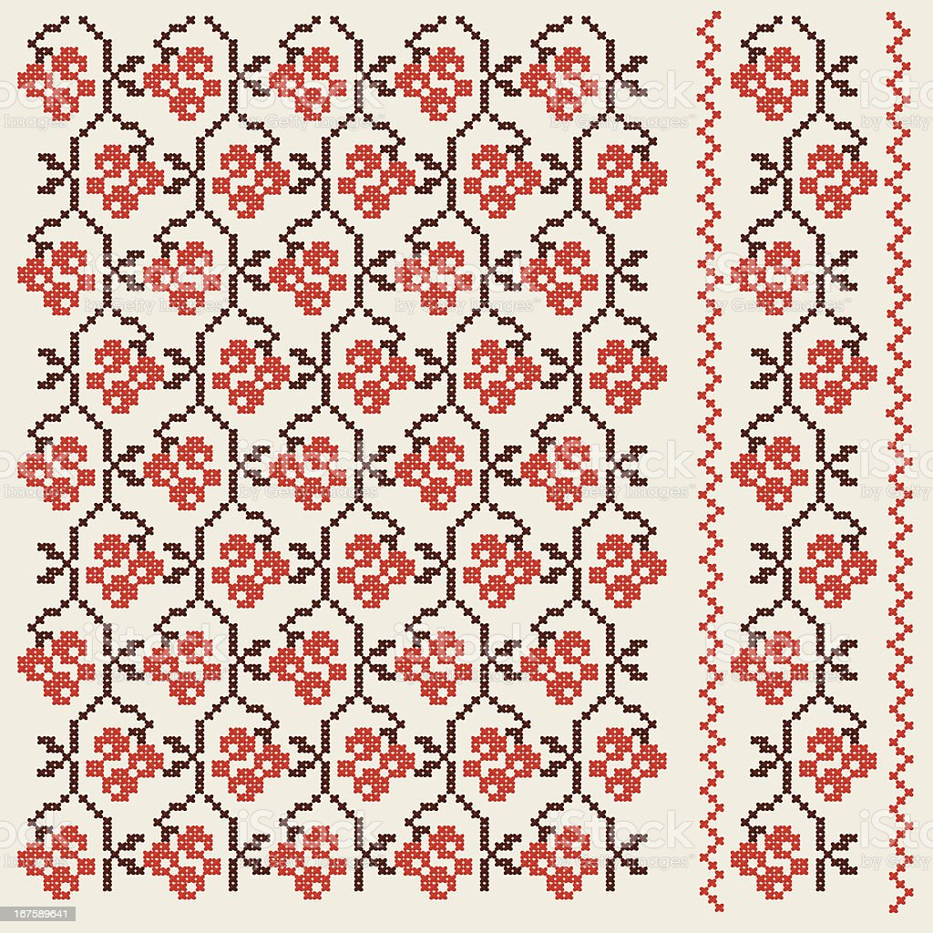 Red Berries Background Pattern Embroidery Ukranian Style vector art illustration