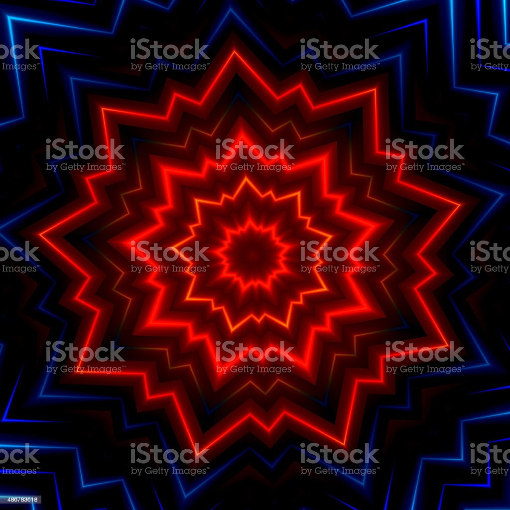 Red blue light burst or flash. Modern decor. Cool image. vector art illustration