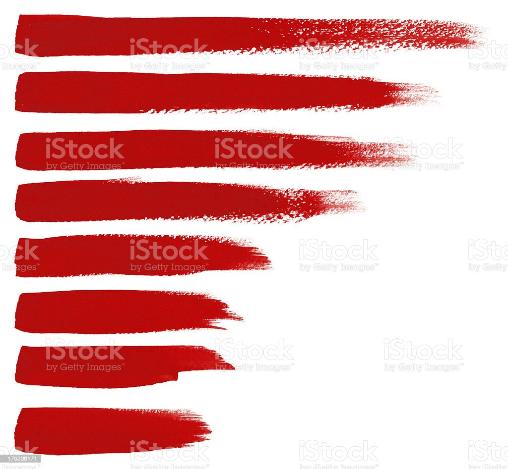 Red Brush Strokes (Clipping Path) royalty-free stock vector art