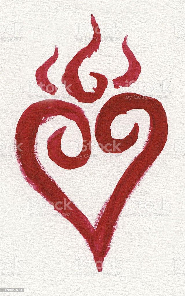 Red burning watercolor heart vector art illustration