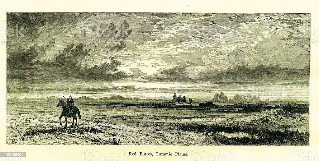 Red Buttes, Laramie Plains, Wyoming vector art illustration