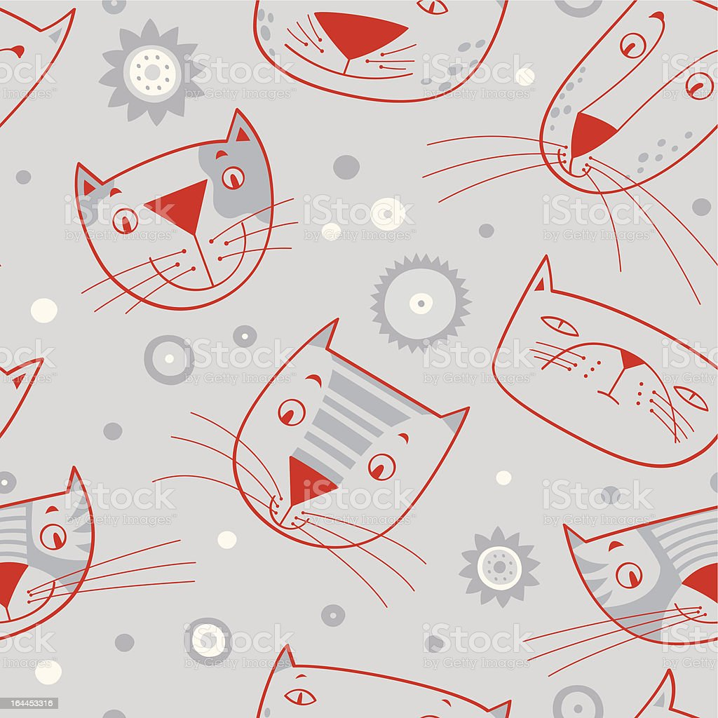 Red cat faces on gray background royalty-free stock vector art
