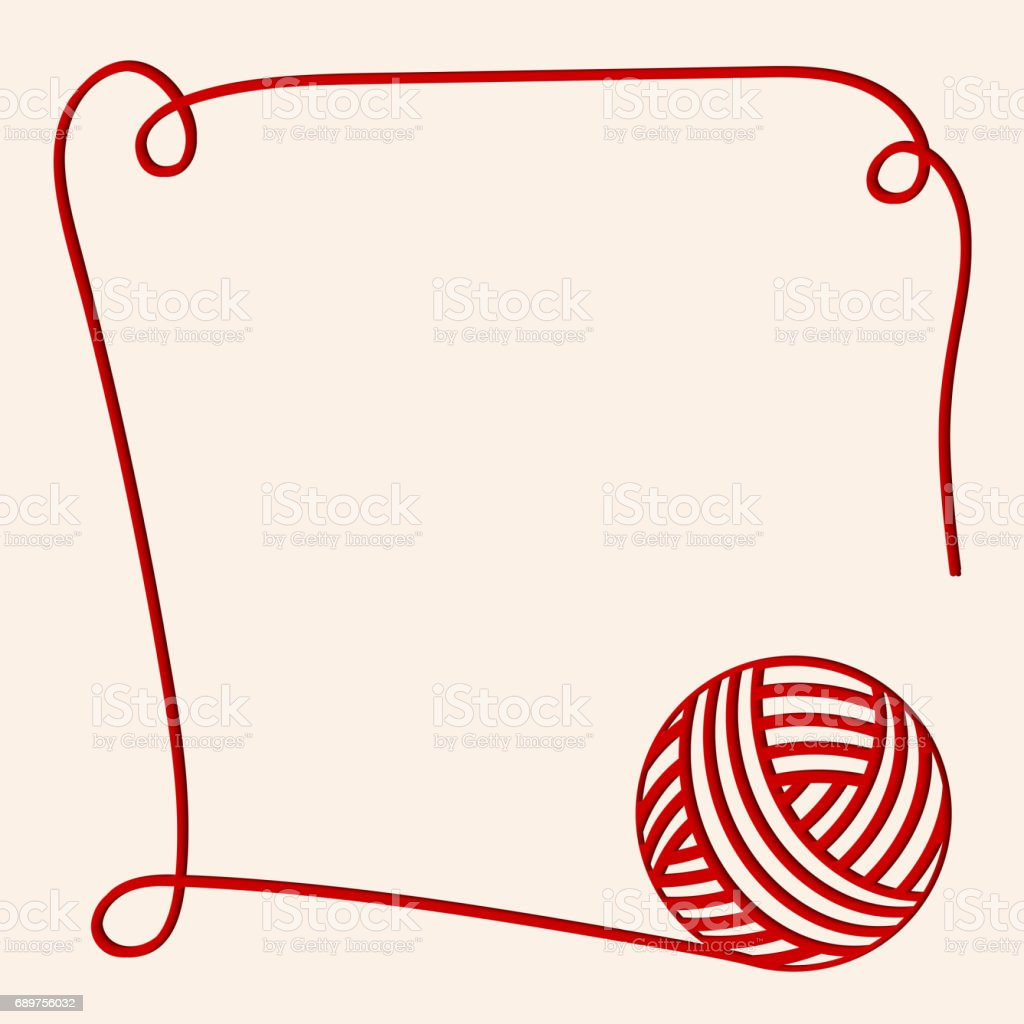 red clew. Papercut yarn. Red fibre. Can be used us invitation card. vector art illustration