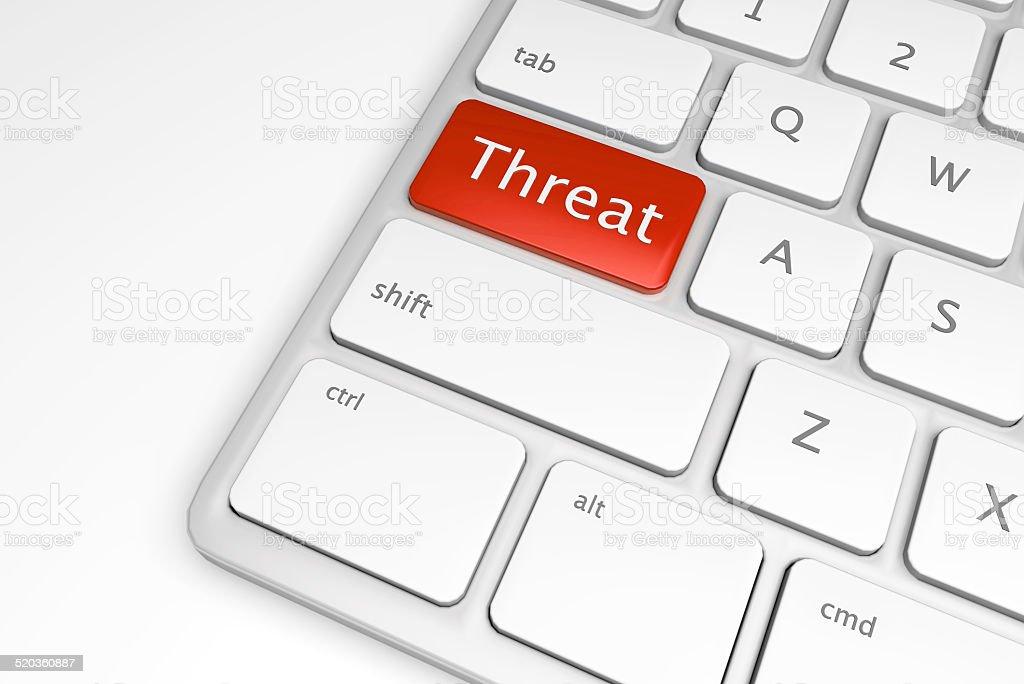 Red computer threat button vector art illustration