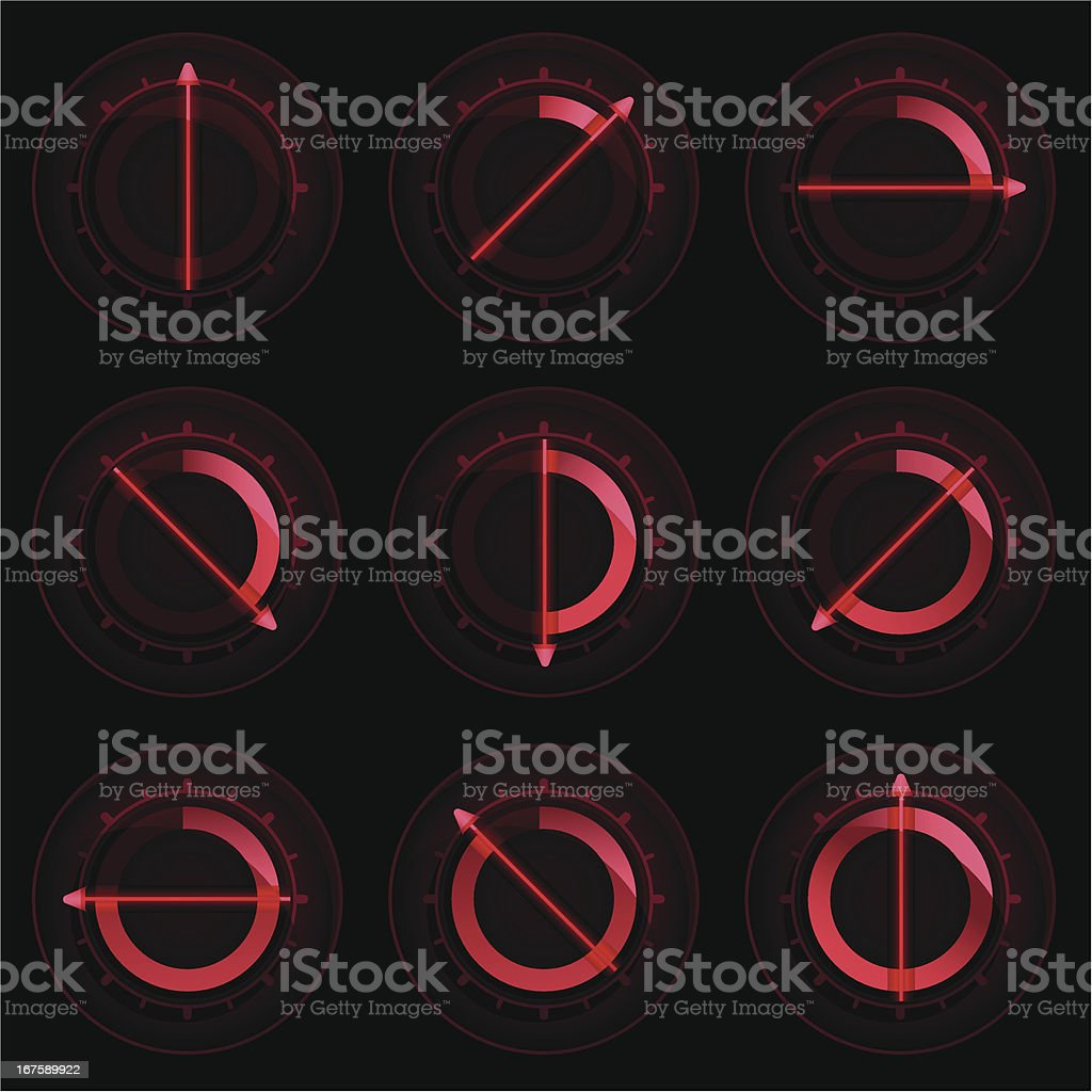 Red Control Dials royalty-free stock vector art