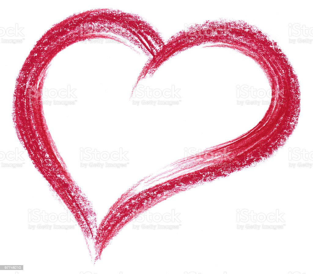 red crayon heart royalty-free stock vector art
