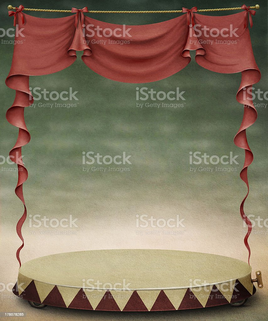Red curtain and stage. royalty-free stock vector art