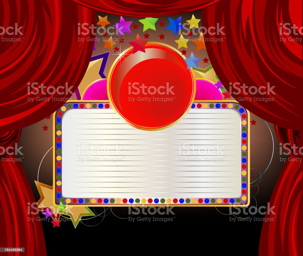 Red curtains with white board banner royalty-free stock vector art