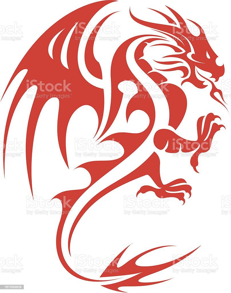 Red Dragon 2 vector art illustration