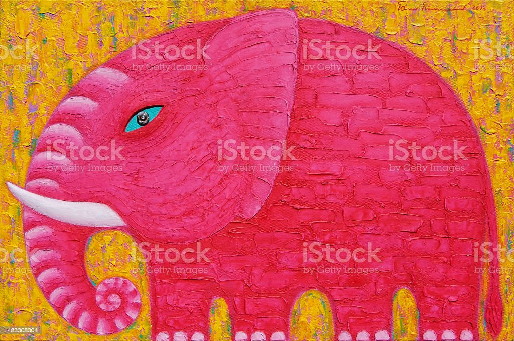 Red Elephant on yellow background. vector art illustration