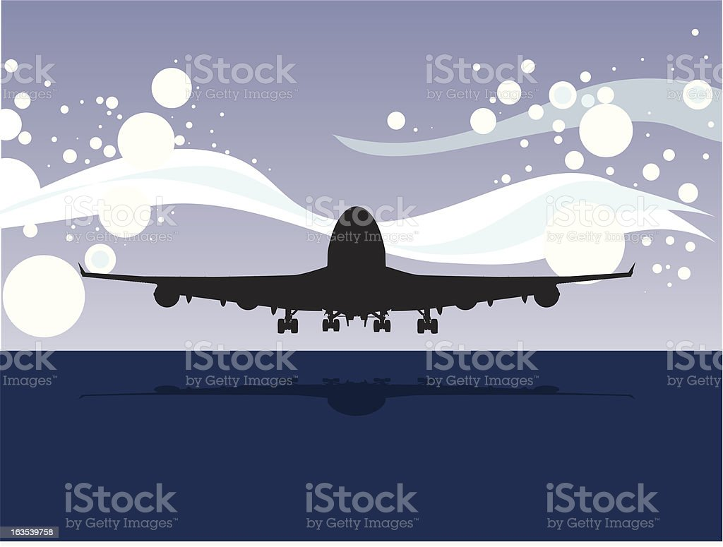 Red eye flight vector art illustration