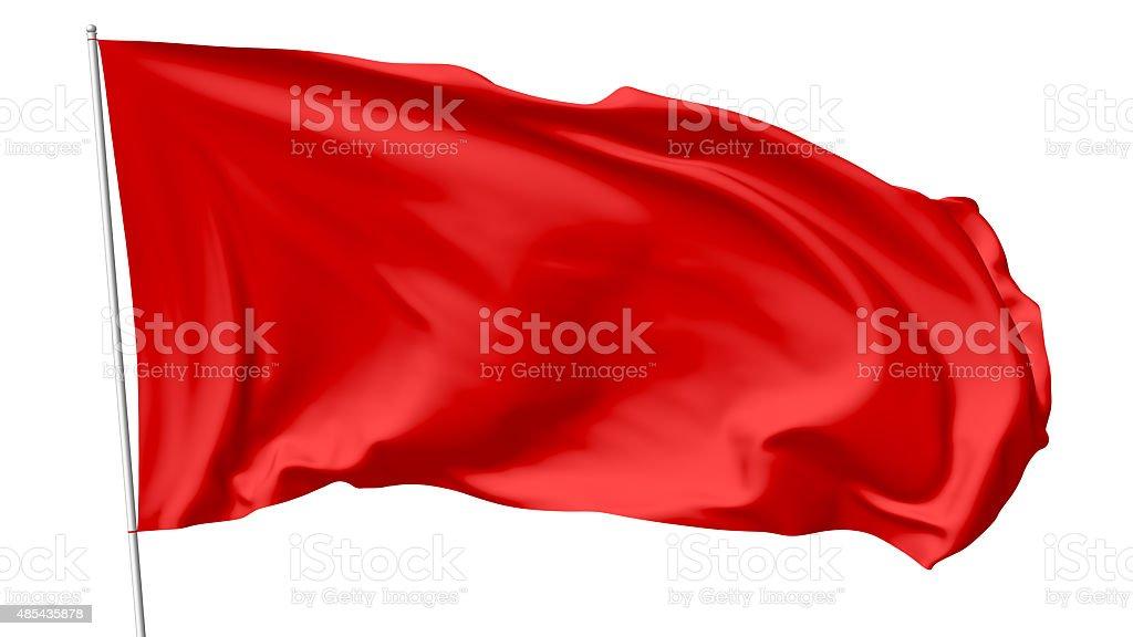 Red flag on flagpole vector art illustration