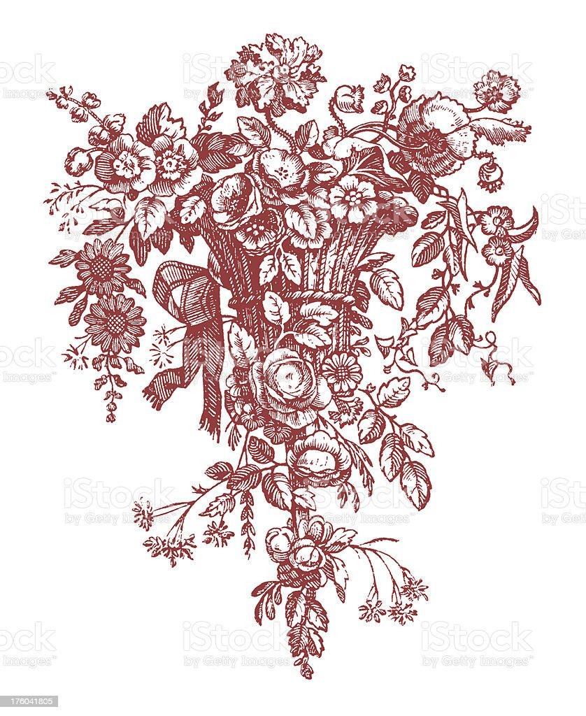 Red Floral Vignette I Antique Design Elements royalty-free stock vector art