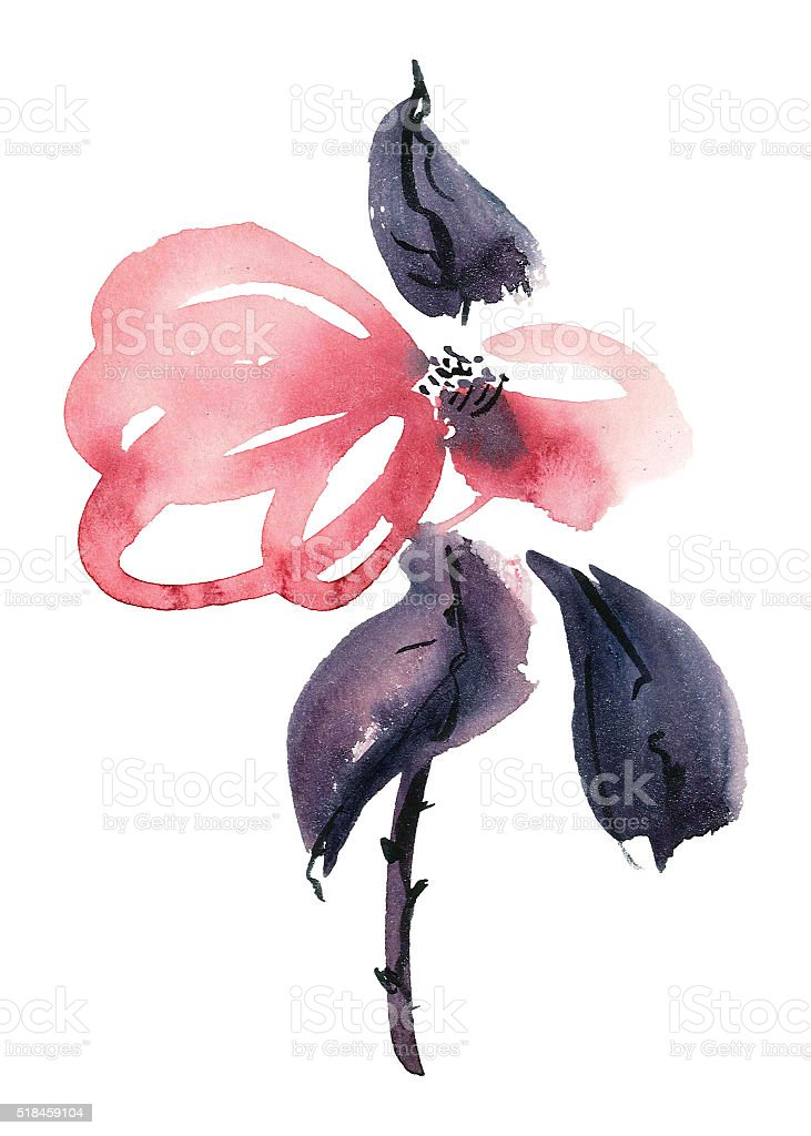 Red flower illustration stock photo