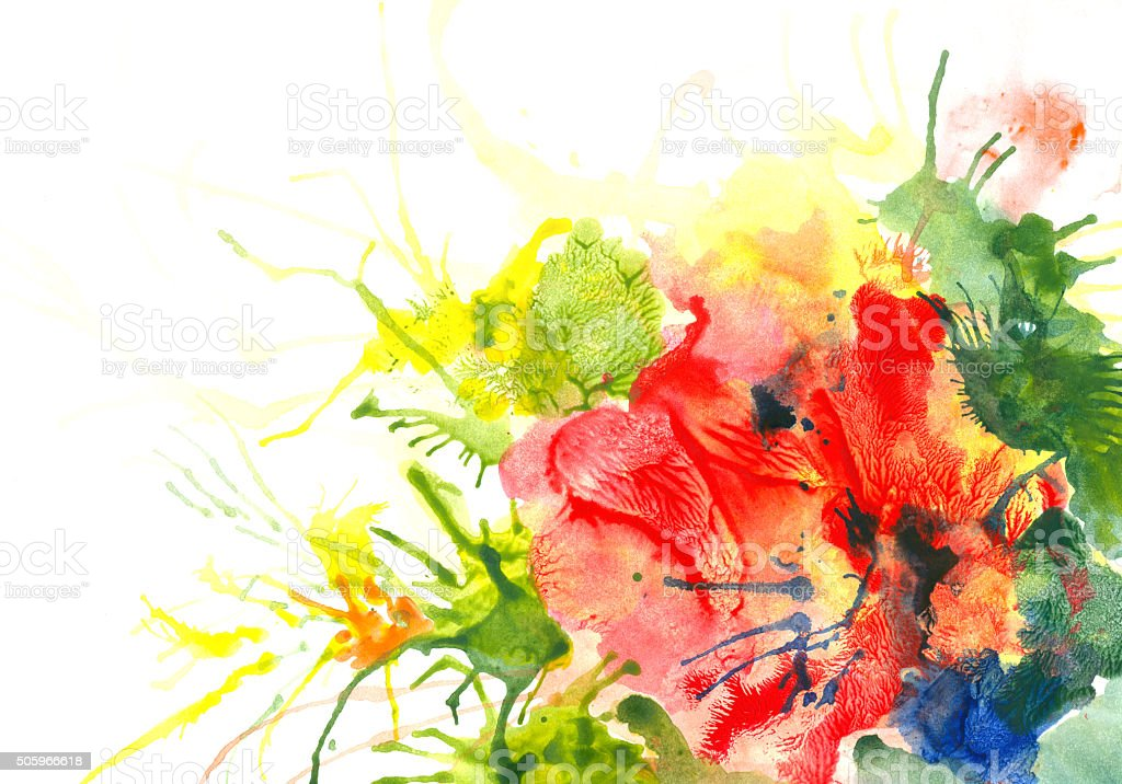 Red flower - watercolor art abstract background vector art illustration