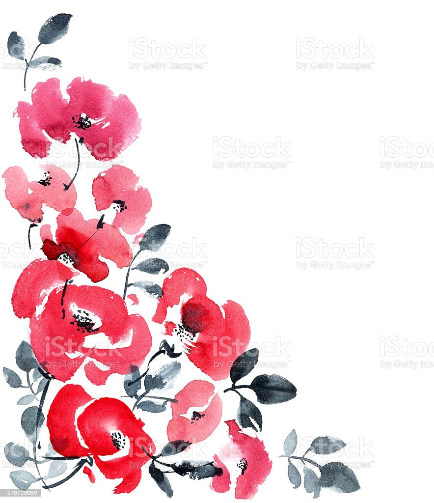 Red flowers greeting card background vector art illustration