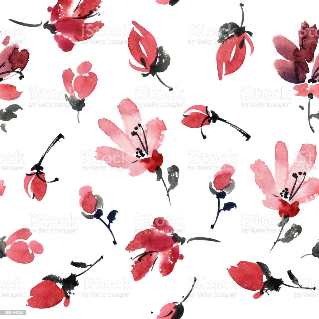 Red flowers pattern stock photo