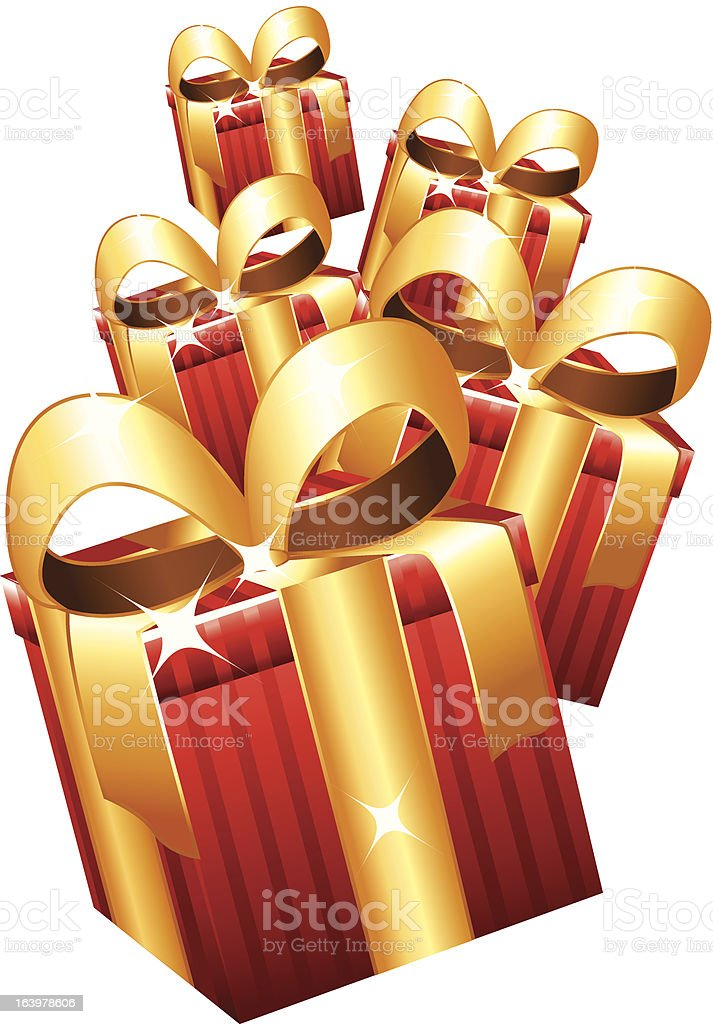 Red gifts with golden bows. royalty-free stock vector art