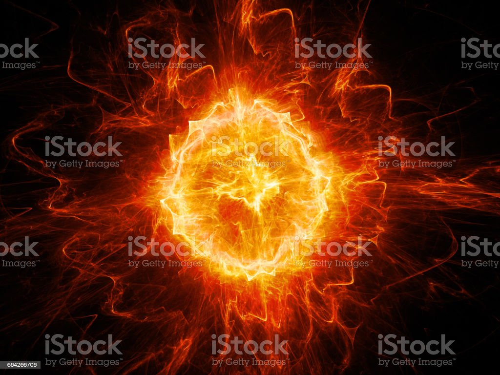 Red glowing fireball lightning stock photo