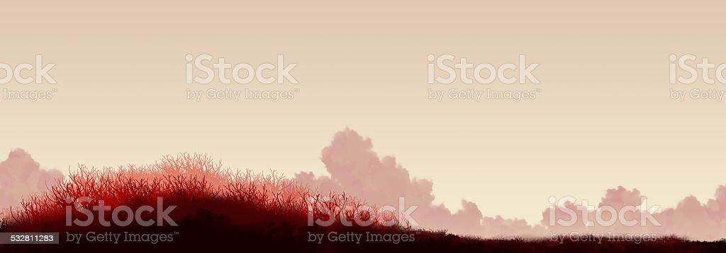 red grass landscape vector art illustration